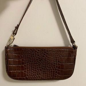 By Far Rachel Shoulder Bag in Nutella Brown Croc